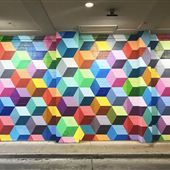 3-D Cube Multi-Color Mural - West Village